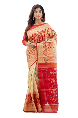 Off-White & Red Traditional Dhakai Jamdani With Heavy Parrot Work - Saree