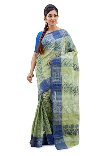 Fern & Blue Traditional Dhakai Jamdani - Saree