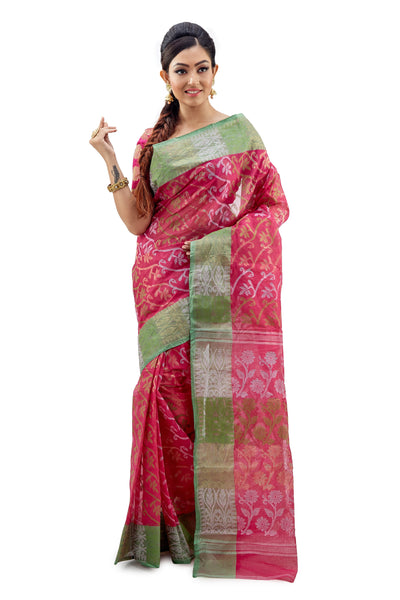 Pink & Green Traditional Dhakai Jamdani - Saree