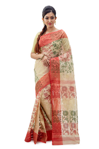 Off-White & Red Traditional Dhakai Jamdani With Floral Work - Saree