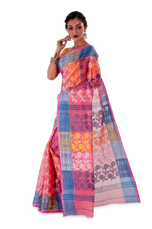 Pink-Traditional-Cotton-Dhakai-Jamdani-SNJMC1101-3