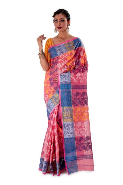 Pink-Traditional-Cotton-Dhakai-Jamdani-SNJMC1101-1