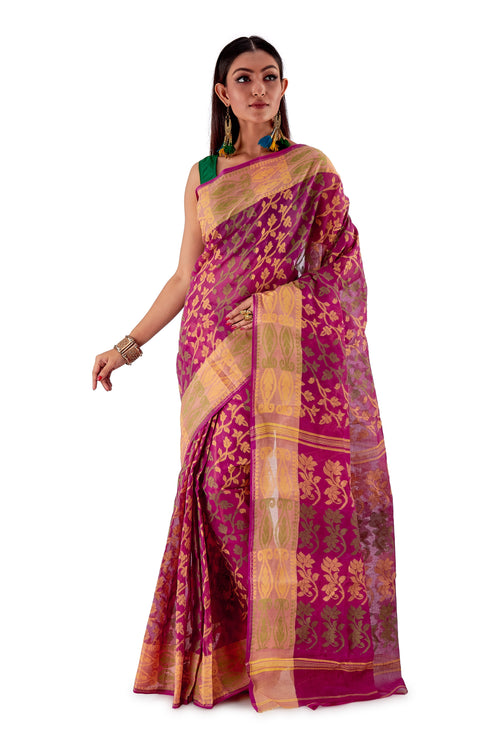 Violet-Traditional-Cotton-Dhakai-Jamdani-SNJMC1105-2