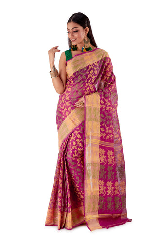 Violet-Traditional-Cotton-Dhakai-Jamdani-SNJMC1105-1