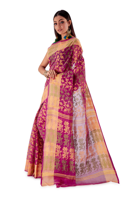 Violet-Traditional-Cotton-Dhakai-Jamdani-SNJMC1105-3