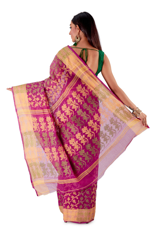 Violet-Traditional-Cotton-Dhakai-Jamdani-SNJMC1105-4