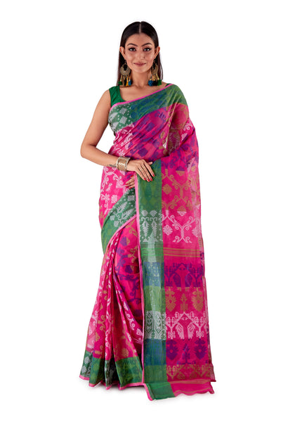 Pink-Traditional-Cotton-Dhakai-Jamdani-SNJMC1106-1