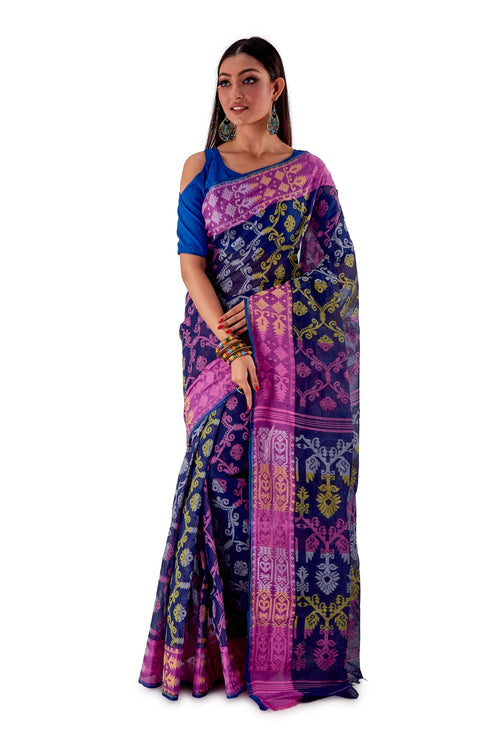 Navy-Blue-Traditional-Cotton-Dhakai-Jamdani-SNJMC1107-2
