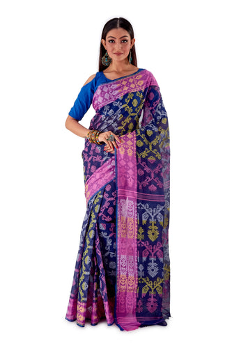 Navy-Blue-Traditional-Cotton-Dhakai-Jamdani-SNJMC1107-1