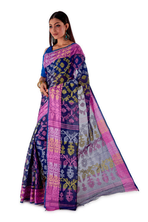 Navy-Blue-Traditional-Cotton-Dhakai-Jamdani-SNJMC1107-3