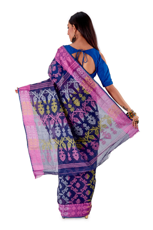 Navy-Blue-Traditional-Cotton-Dhakai-Jamdani-SNJMC1107-4
