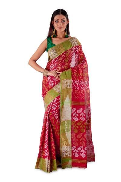 Red-Traditional-Cotton-Dhakai-Jamdani-SNJMC1108-1