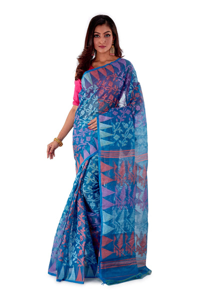 Blue-Traditional-Cotton-Dhakai-Jamdani-SNJMC1203-1