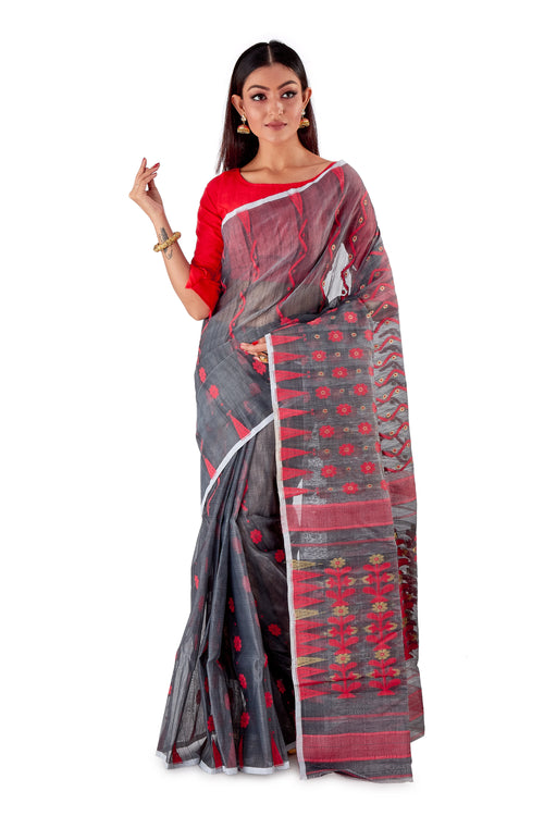 Blackish-Grey-Traditional-Cotton-Dhakai-Jamdani-SNJMC1204-2