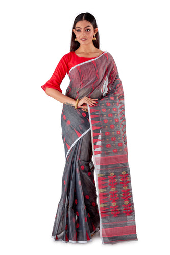 Blackish-Grey-Traditional-Cotton-Dhakai-Jamdani-SNJMC1204-1
