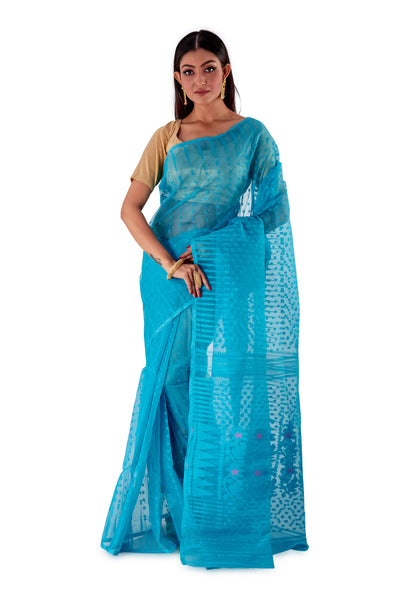 BlueTraditional-Cotton-Dhakai-Jamdani-SNJMC1302-1