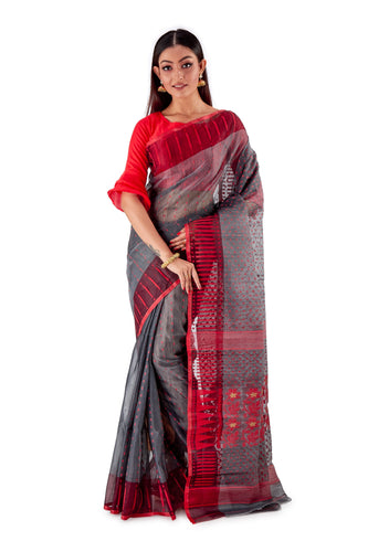 Grey-Traditional-Cotton-Dhakai-Jamdani-SNJMC1303-1