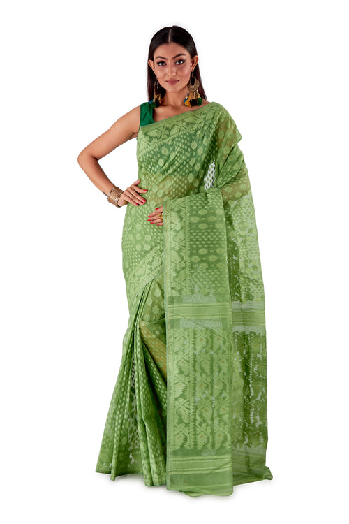Mosh-Green-Traditional-Cotton-Dhakai-Jamdani-SNJMC1501-2
