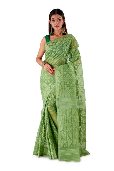 Mosh-Green-Traditional-Cotton-Dhakai-Jamdani-SNJMC1501-1