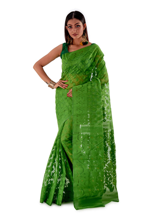 Parrot-Green-Traditional-Cotton-Dhakai-Jamdani-SNJMC1502-2