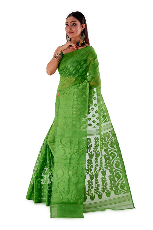 Parrot-Green-Traditional-Cotton-Dhakai-Jamdani-SNJMC1502-3