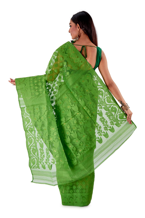 Parrot-Green-Traditional-Cotton-Dhakai-Jamdani-SNJMC1502-4