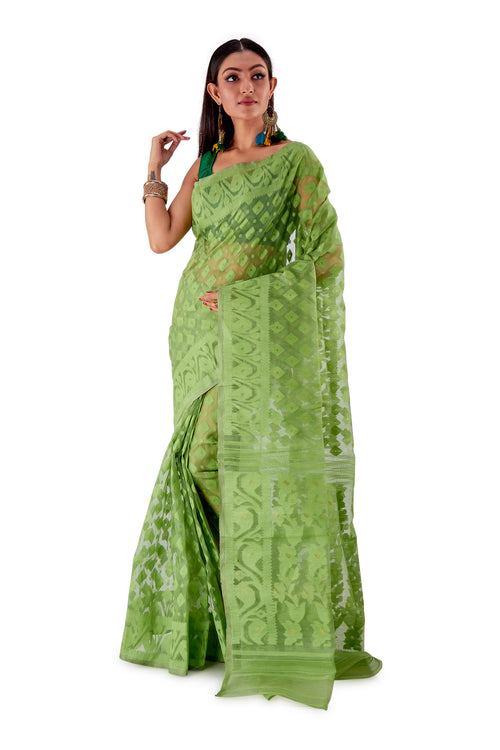 Green-Traditional-Cotton-Dhakai-Jamdani-SNJMC1503-2