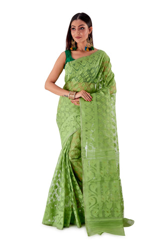 Green-Traditional-Cotton-Dhakai-Jamdani-SNJMC1503-1