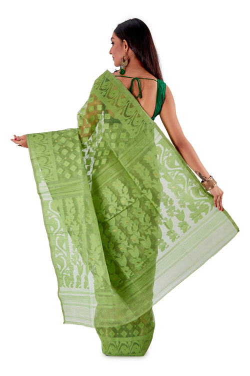 Green-Traditional-Cotton-Dhakai-Jamdani-SNJMC1503-4
