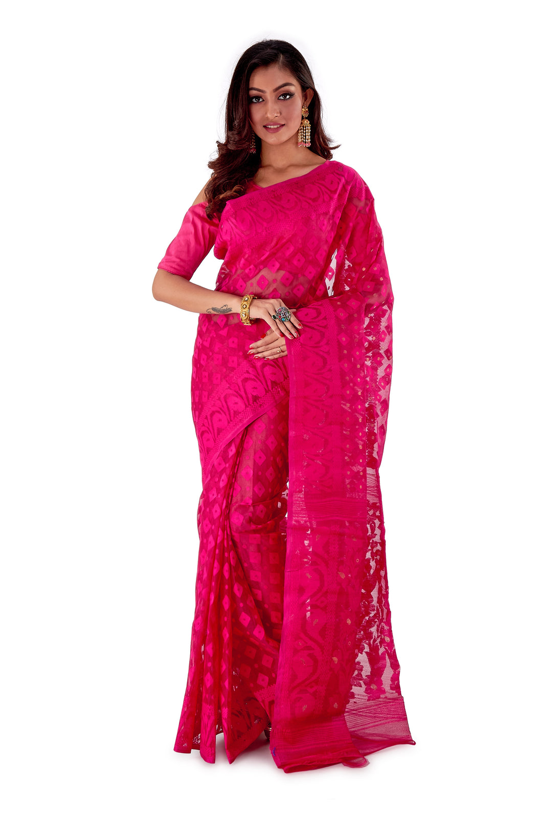Pink-Traditional-Cotton-Dhakai-Jamdani-SNJMC1504-1
