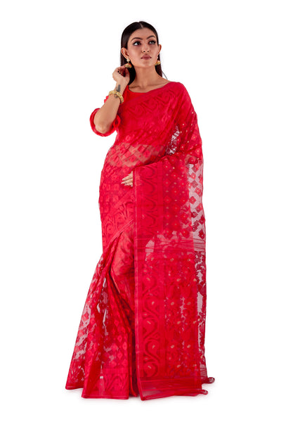 Red-Traditional-Cotton-Dhakai-Jamdani-SNJMC1505-1