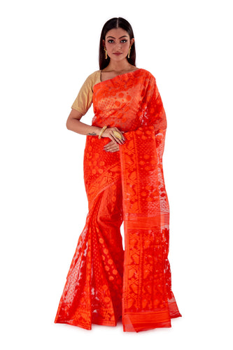 Orange-Traditional-Cotton-Dhakai-Jamdani-SNJMC1506-1