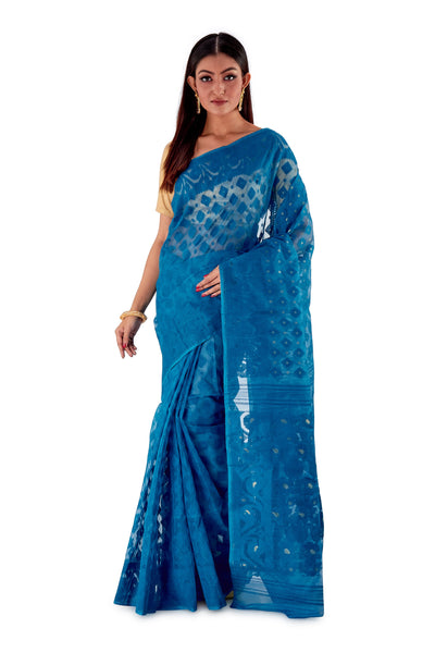 Blue-Traditional-Cotton-Dhakai-Jamdani-SNJMC1507-1