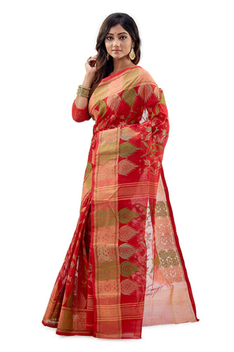 Red Traditional Dhakai Jamdani With Multi-Coloured Jamdani Work - Saree