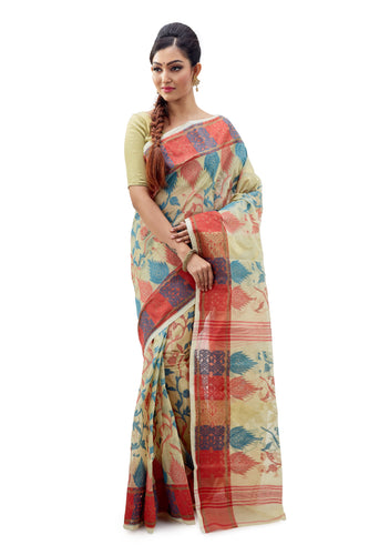 Off-White Traditional Dhakai Jamdani With Multi-Coloured Design - Saree