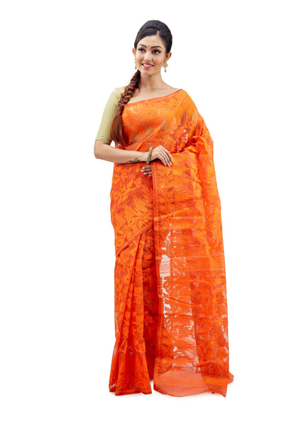 Tangy Orange Traditional Dhakai Jamdani - Saree
