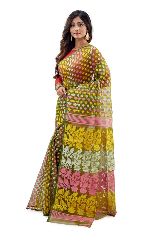 Sage Traditional Dhakai Jamdani With Multi-Coloured Jamdani Work - Saree