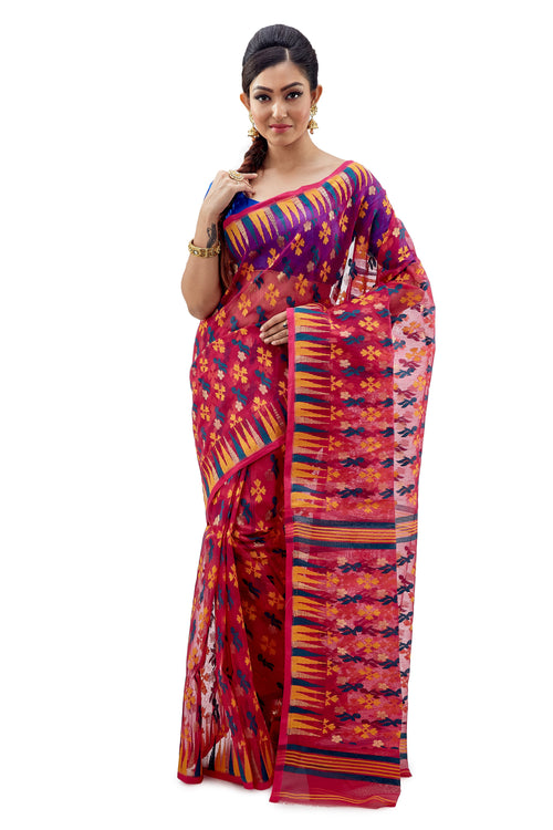 Multi-Coloured Traditional Dhakai Jamdani - Saree