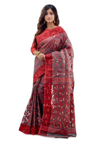 Dark Grey Traditional Dhakai Jamdani - Saree