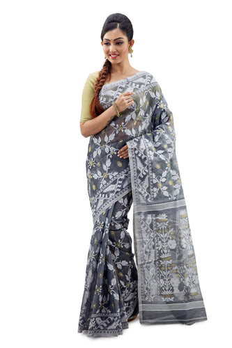 Slate Traditional Dhakai Jamdani - Saree