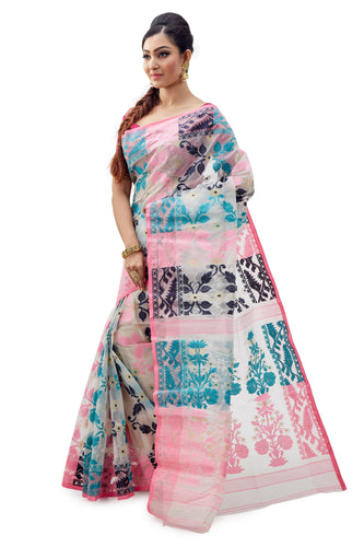 Off-White Traditional Dhakai Jamdani - Saree