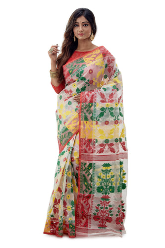 Off-White Floral Traditional Dhakai Jamdani - Saree