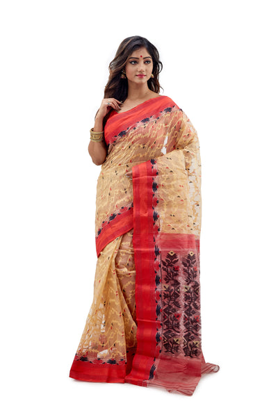 Golden & Red Traditional Dhakai Jamdani - Saree