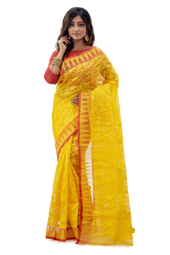 Yellow Traditional Dhakai Jamdani - Saree