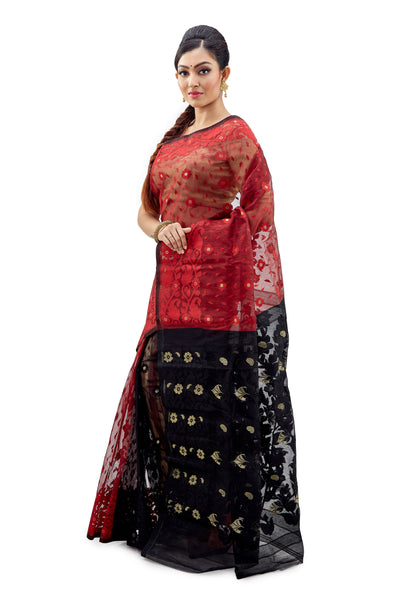 Black & Red Traditional Dhakai Jamdani - Saree