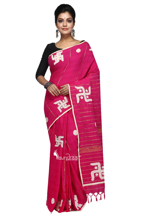 Pink Cotton Handloom With Applique Work - Saree