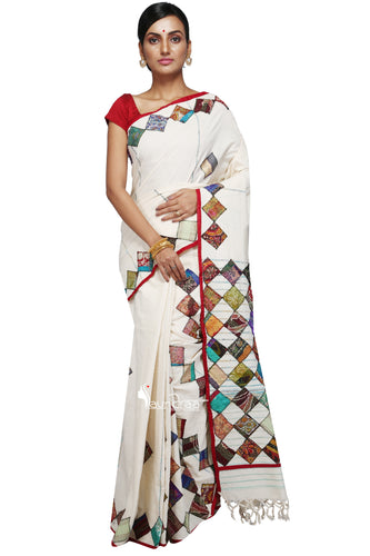 Applique work on White Khesh : Tappi Baul