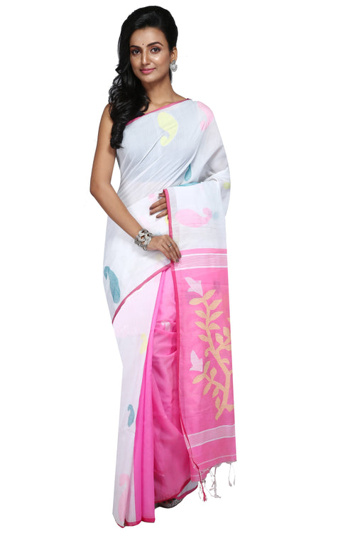 Handloom Cotton Aam Kalka Saree - Saree