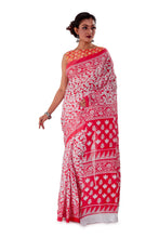 Red-base-block-printed-mulmul-designer-saree-SNML1002-3