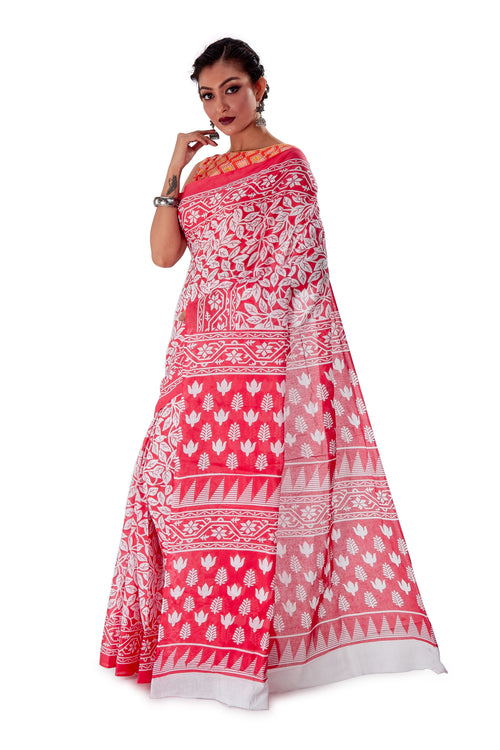Red-base-block-printed-mulmul-designer-saree-SNML1002-2